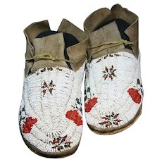 Antique Native American Indian Cheyenne Beaded Moccasins