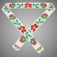 Vintage Native American Indian Loomed Beaded Floral Strip
