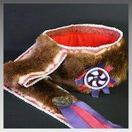 Vintage Native American Man's Otter Skin Turban Headdress