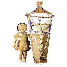 Native American Indian Beaded Yakima Plateau Toy Doll & Cradle