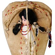 Vintage Native American Indian Shoshone Doll In Toy Cradle