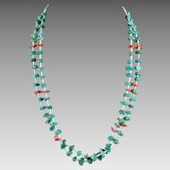 Native American Turquoise Nugget and Coral Shell Necklace