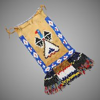 Antique Native American Apache Beaded With Thunderbirds Dice Or Child's Bag