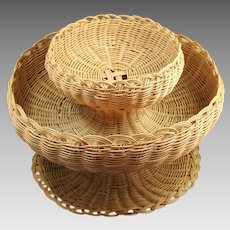 Native American Cherokee Double Tier Bowl Basket