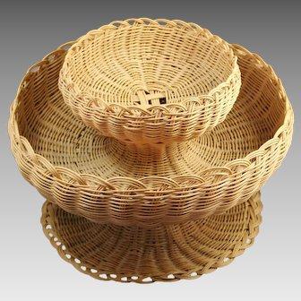 Native American Cherokee Double Tier Bowl Basket