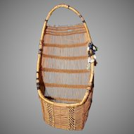Vintage Native American Indian Hupa Toy Doll Cradle Basket