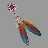 Native American Beaded Rosette Hair Drop