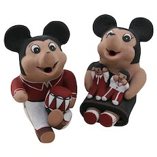 Native American Cochiti Mickey and Minnie Mouse Pottery Dolls