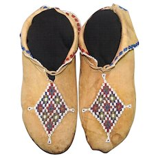Antique Native American Osage Man's Beaded Moccasins