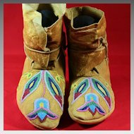 Antique Native American Plateau Beaded Moccasins
