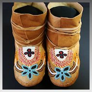 Vintage Native American Subarctic Quilled & Beaded Moccasins
