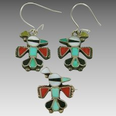 Native American Zuni Thunderbird Turquoise and Coral Inlaid Silver Earrings and Pin