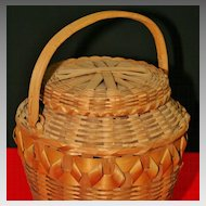 Vintage Native American Northeastern Lidded Fancy Basket