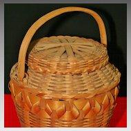 Vintage Native American Northeastern Lidded Fancy Basket