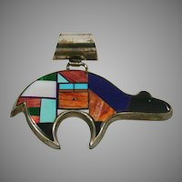 Native American Sterling Inlaid Bear Pendant by Yazzie