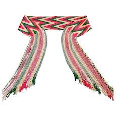 Antique Native American Indian Osage Finger Weaving Sash