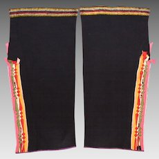Antique Native American Osage Woman's Double Sided Ribbonwork Leggings