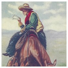 Cowboy Postcard Titled News From Home