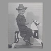 Easel Photograph Little Boy on Rocking Horse