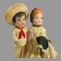 Pair Vintage Mexican Dolls