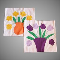 Floral Appliqued 1970's Spring Pillow Covers