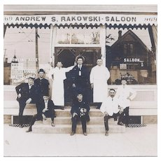 Real Photo Postcard Rakowski Saloon