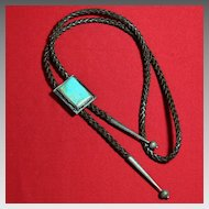 Vintage Native American Indian Turquoise Sterling Silver Bolo Tie Slide