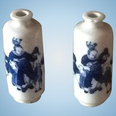 Beautiful rare antique 19th century porcelain miniature vases ideal for dolls house or fashion dolls display