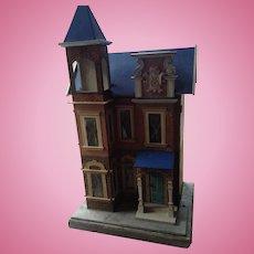 Antique Gottschalk dolls house model number 2827 blue roof dolls house, circa 1885