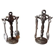 Antique dolls house metal fireplace tools