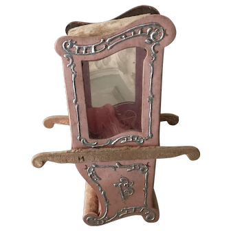 Very rare French candy container in the shape of a chaise a porteur