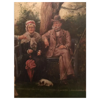 Beautiful old oil painting in ornate frame