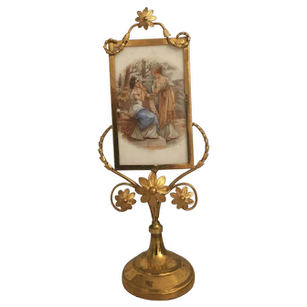 Antique French 19th century framed porcelain scene