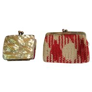 Two vintage small/doll purses one with mother of pearl