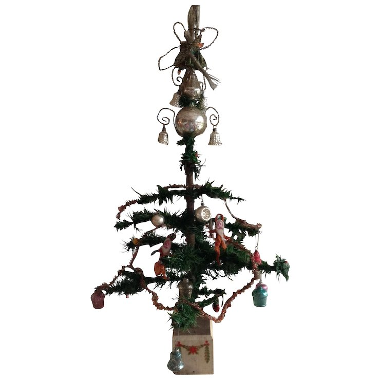 Beautiful rare antique Victorian goose feather Christmas tree with antique  decorations! - Beautiful Rare Antique Victorian Goose Feather Christmas Tree With