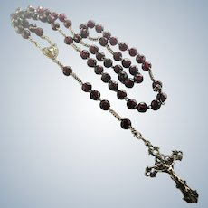 French Antique Garnet Glass and Silver Rosary