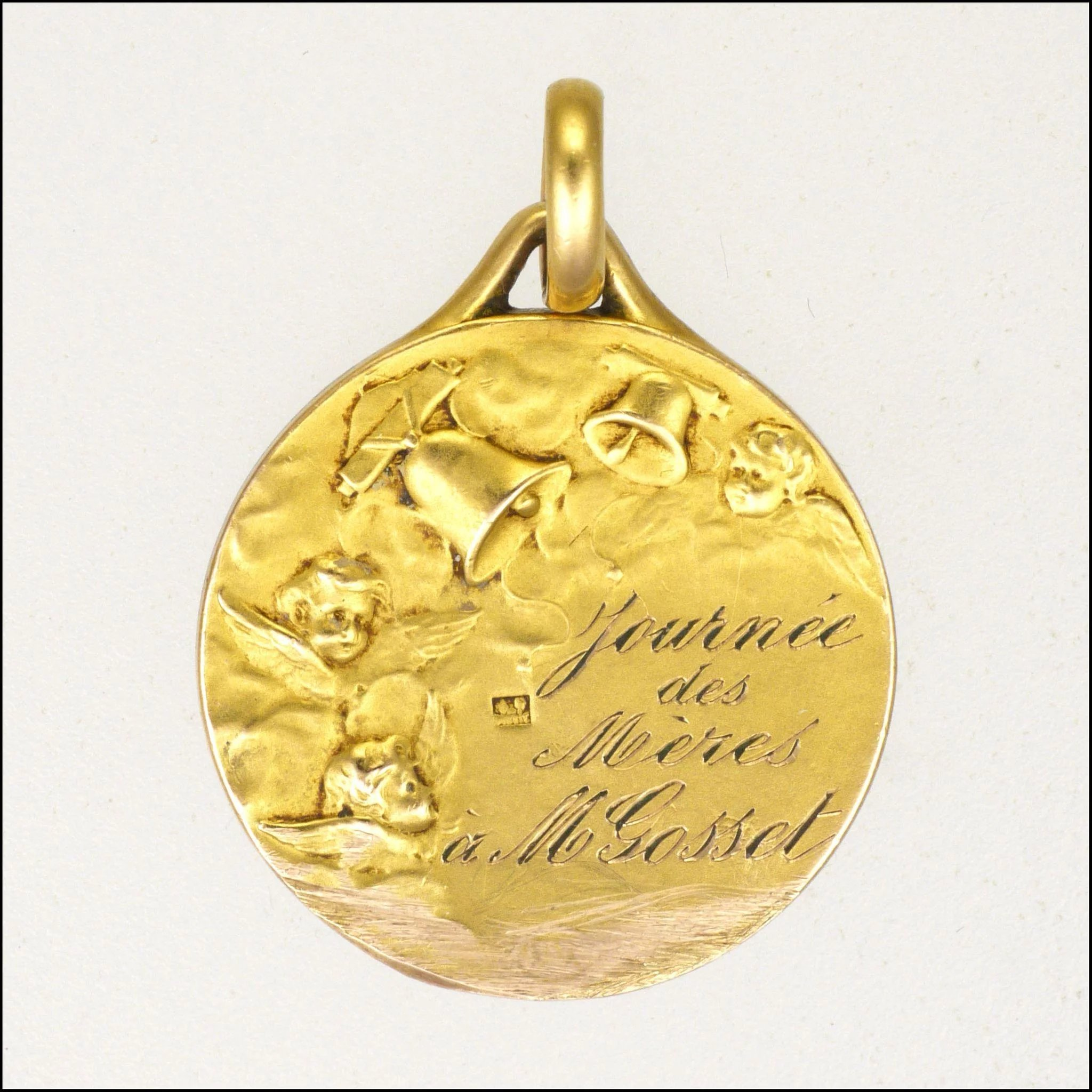 yellow necklace charm round medal baptism listing gallery gold photo pendant solid il fullxfull
