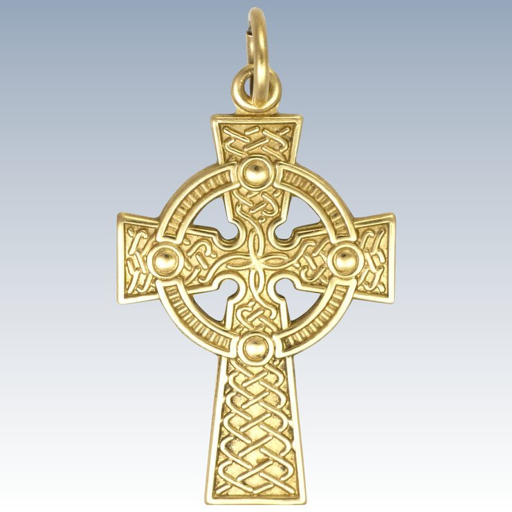 made pendant celtic product sided ireland solvar in gold loiuj cross double