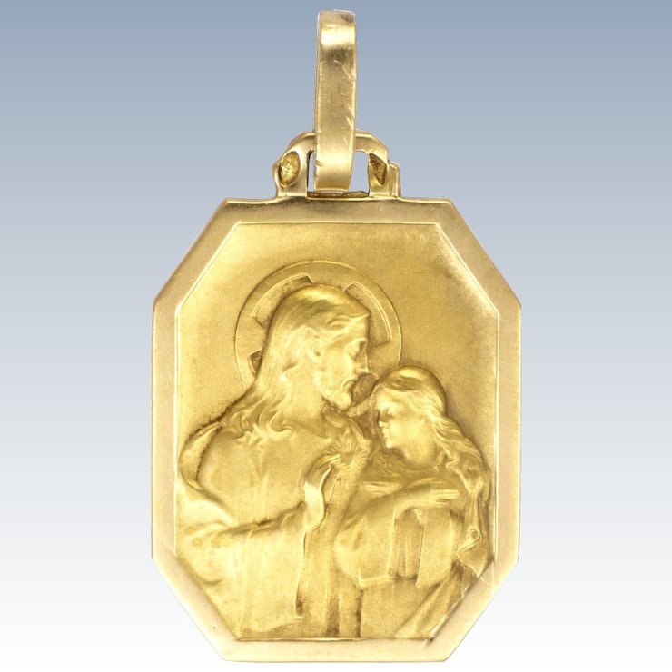 French art deco silver and 18k gold jesus and mary magdalene medal french art deco silver and 18k gold jesus and mary magdalene medal mozeypictures Gallery