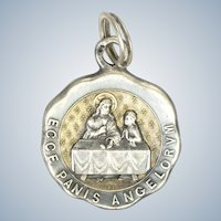 French Circa 1900 Silver Communion Medal -PIEL