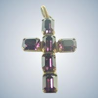Victorian Glittering Purple Paste Cross Pendant