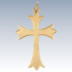 English 9 Carat Rose Gold 1903 Gothic Style Cross Pendant