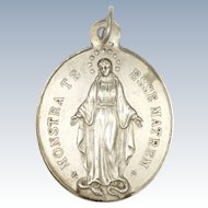 French 1884 Silver Motherhood Virgin Mary Medal