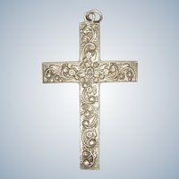 Large Sterling Silver Double Sided Engraved Cross