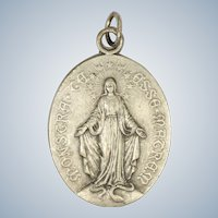 French Circa 1880-1900 Silvered Metal Mary Motherhood Medal