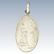 French Victorian Silver St. Anne and Virgin Mary Medal or Charm