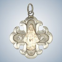 French Circa 1900 Silver and Gold Overlay Mary Cross Pendant