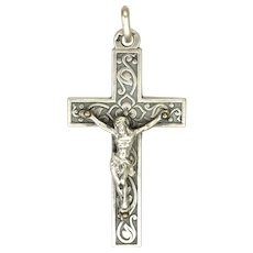 French 1902 Silver Embellished Small Crucifix