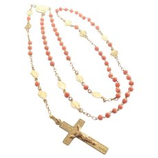 French Antique Coral and Gold Filled Rosary