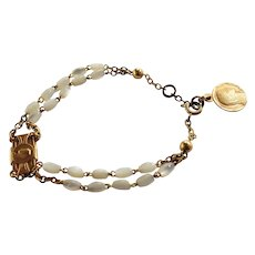 French Mother of  Pearl Dizainier Rosary Bracelet